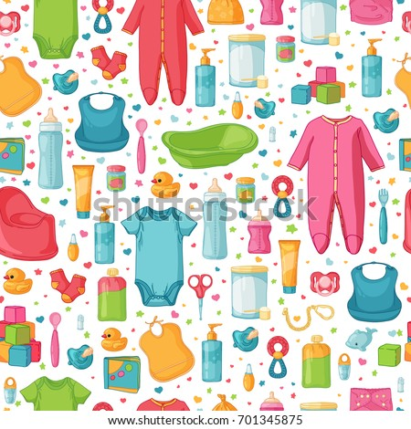 Design seamless pattern with childhood's items . Background with newborn staff for decorating flyers. Backdrop for card, invitation for babies shower with infant clothes, toys, accessories . Vector