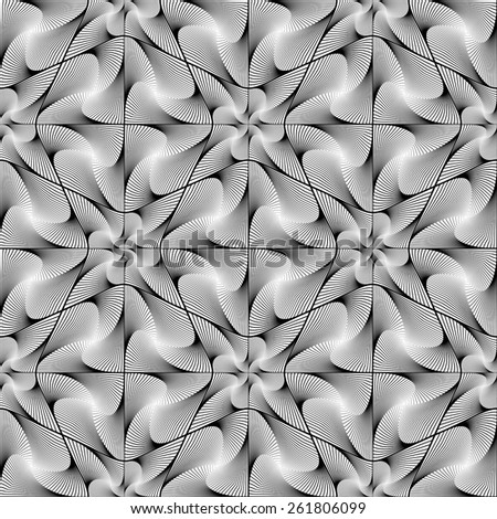 Design seamless striped geometric pattern. Abstract monochrome waving lines background. Vector art. No gradient - stock vector