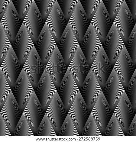 Design seamless wave geometric pattern. Abstract monochrome diamond background. Vector art. No gradient - stock vector