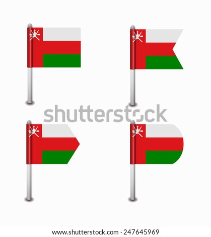 design set of four flags Oman - stock vector