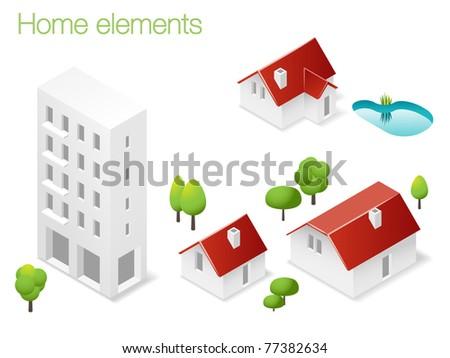 Design set of home elements - stock vector