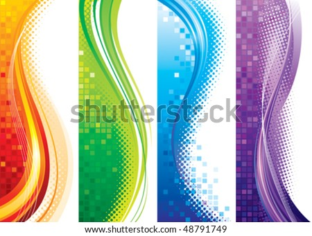 Design set of vertical modern backgrounds, vector layered. - stock vector