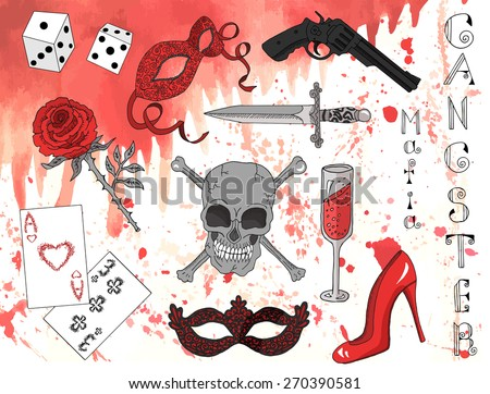 Design set with hand drawn elements of romantic mafia and gangster theme. Demon skull, mask, cards, dice, rose, gun, dagger on blood background - stock vector