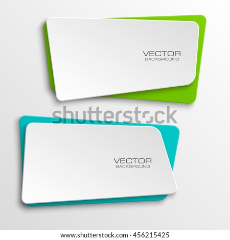 Design shape Origami vector banner. The original form as two squares with rounded corners, overlapping. Vector graphics - stock vector