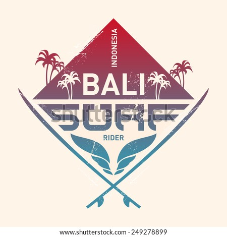 Design shield, Bali surf rider, Indonesia. Surfing vintage label with waves, palm and surfboards. Vector Surf illustration with gradient. - stock vector