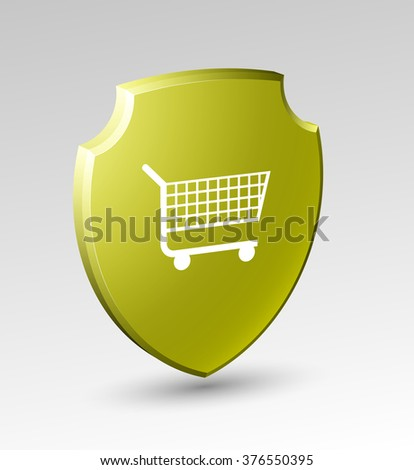 Design shield icon with a supermarket trolley, shopping cart.