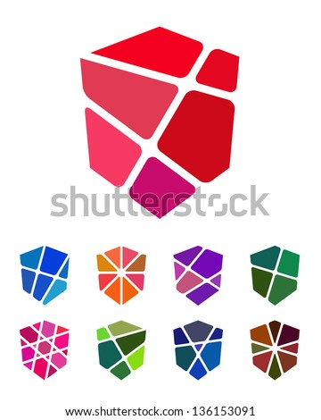 Design shield logo element. Colorful abstract pattern, icon set. - stock vector