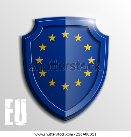 Design shield Origami banner with the flag of the European Union - stock vector