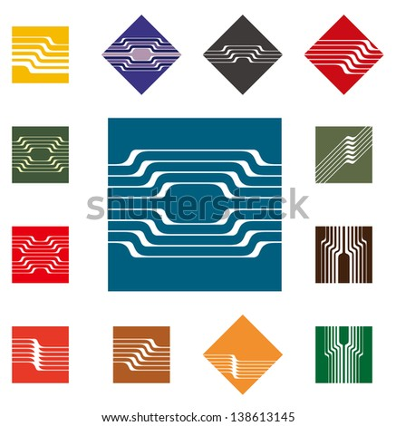 Design square vector logo template. Rectangular, rhombus icon set. Colorful pattern. You can use in the construction, factories, communications, electronics, or creative design concepts - stock vector