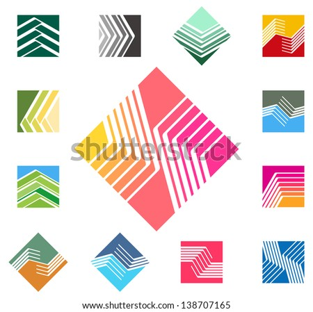 Design square vector logo template. Rectangular, rhombus icon set. Colorful pattern.You can use in the construction, factories, communications, electronics, or creative design concepts - stock vector