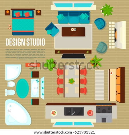 Design Studio Concept With Top View Apartment Interior Vector Illustration Living Room Bedroom