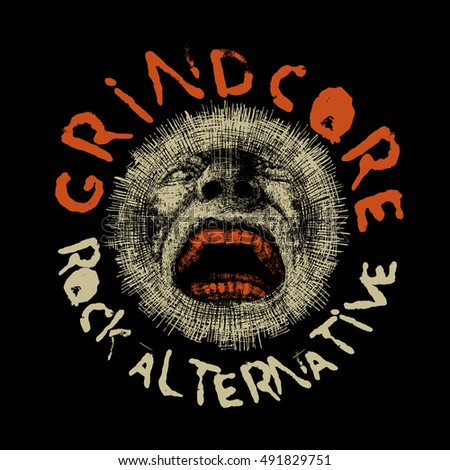 Design T-shirt Grindcore Rock Alternative With Screaming Head And Textures. Vector Illustration.