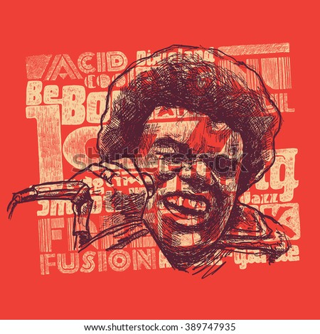 "Design t-shirt print ""Jazz music"" with afro soul singer with microphone and jazz typography. typography vector illustration."