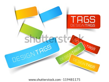 Design Tags and Labels - grouped vector elements - stock vector