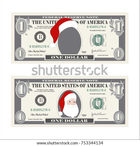 Design template 1 dollar banknote santa stock vector 753344134 design template 1 dollar banknote with santa claus one dollar bill for christmas sales pronofoot35fo Choice Image