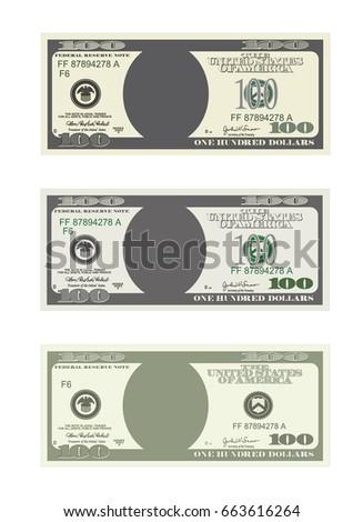 design template 100 dollars banknote bill stock vector 663616264