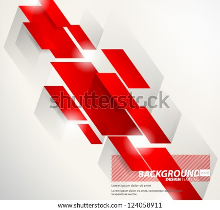 Design Template - eps10 Abstract Red Thick Slant Lines Background - stock vector