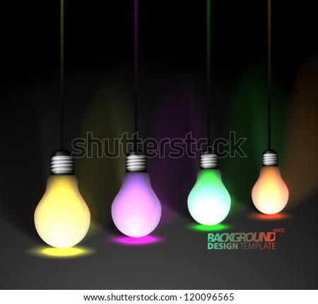 Design Template - eps10 Light Bulbs Background - stock vector