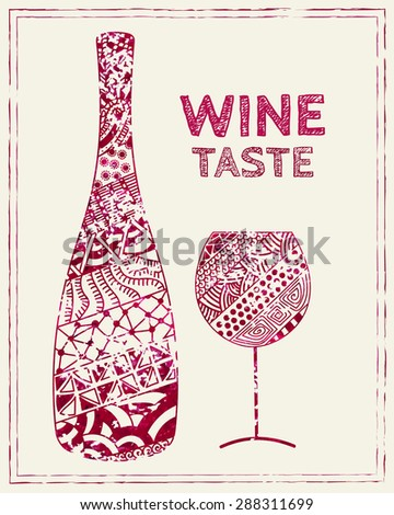 Design template for a wine menu with wineglass and bottle in the style of zentangle. Hand-drawn. Isolated. Vector. - stock vector