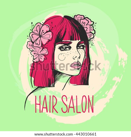 Design template for beauty hair salon, spa, cosmetics design. Vector illustration for advertising. Fashion woman hairstyle. - stock vector