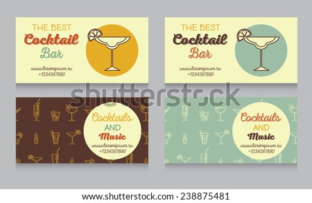 design template for cocktail bar business cards in retro style, vector illustration - stock vector