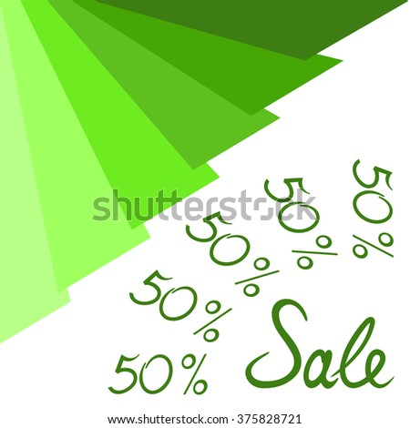 Design template for sale poster. On bottom right angle of template is located word - sale. On the bands, you can write the offers. Offers can be written both along and across the green lines. - stock vector