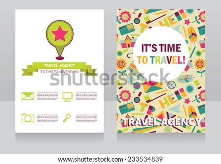 design template for travel agency banner, cute illustration background for tourism, vector illustration - stock vector