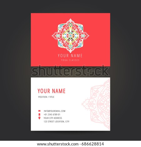 Design template yoga studio business card stock vector 686628814 design template for yoga studio business card yoga studio logo set for use yoga school reheart Choice Image