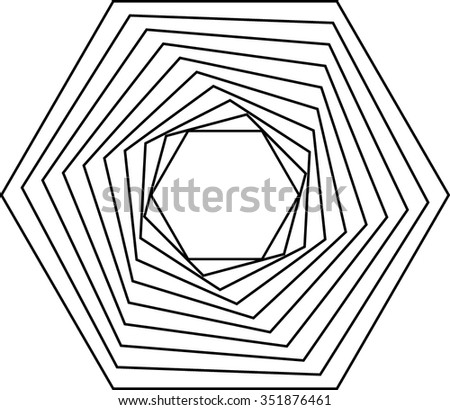 Design Template . Hexagon Logo . Vector Lines - stock vector