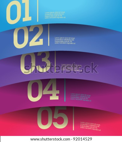 Design template - horizontal colorful cutout curvy lines / graphic or website layout vector - stock vector