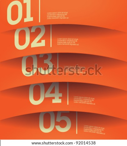 Design template - horizontal orange cutout curvy lines / graphic or website layout vector - stock vector