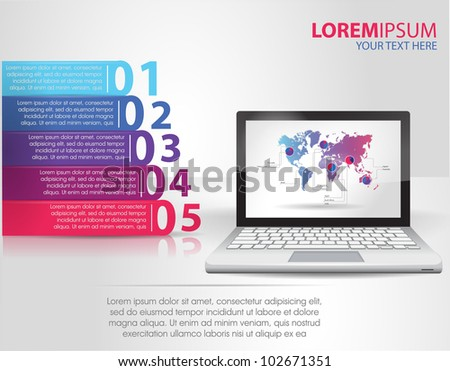 Design template numbered banners with laptop. infographics - stock vector