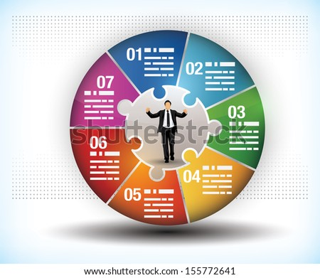 Design template of a colorful business wheel chart with seven segments or components and a central figure of a businessman - stock vector