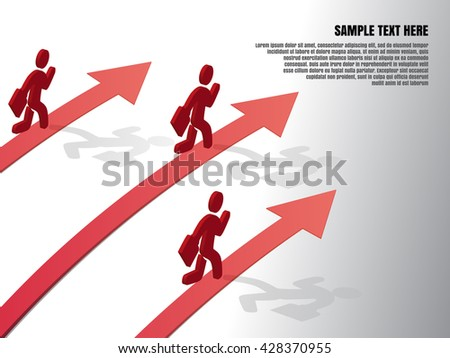 Design template, Running businessman on growth of progressive business, vector illustration