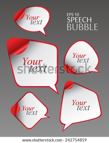 Design Template - Vector realistic Abstract Geometrical Design Speech bubbles set with curved corner - stock vector