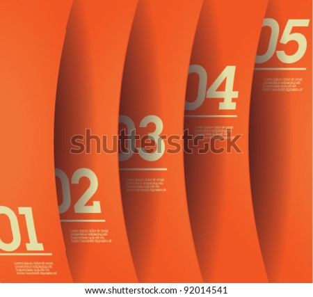 Design template - vertical orange cutout curvy lines / graphic or website layout vector - stock vector