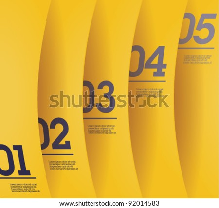 Design template - vertical yellow cutout curvy lines / graphic or website layout vector - stock vector