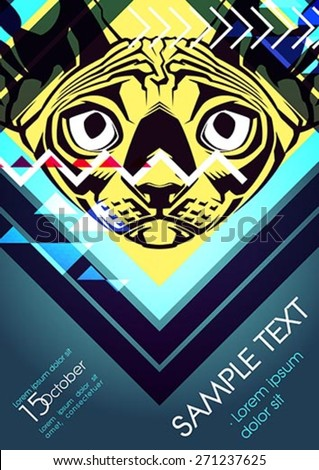 Design template with cat and place for text. Festival poster - stock vector