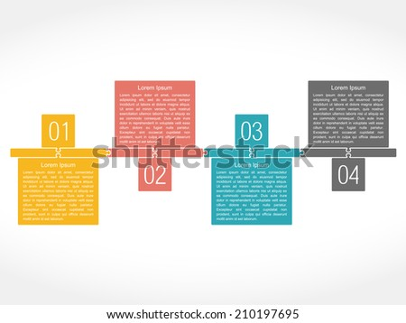 Design template with four elements, puzzle style, vector eps10 illustration - stock vector