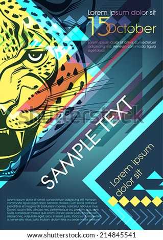 Design template with leopard and place for text. Festival poster - stock vector