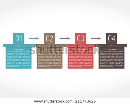 Design template with number and place for text, flat puzzle style, vector eps10 illustration - stock vector