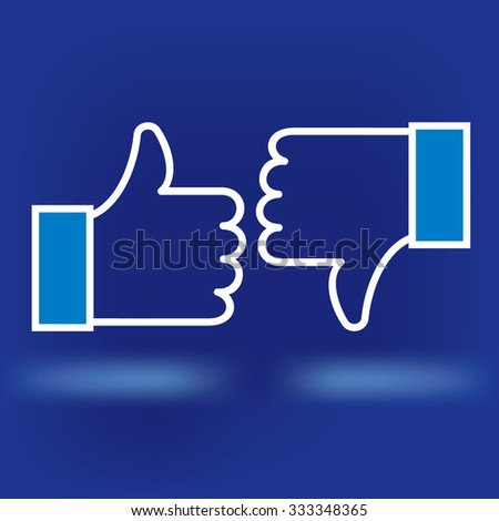Design thumbs up icon. White icon on blue background - stock vector