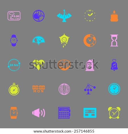 Design time color icons on gray background, stock vector