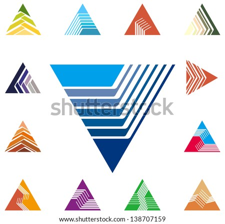 Design triangle, arrow logo vector template. Speed icon set. You can use in the construction, factories, communications, electronics, or creative design concepts - stock vector