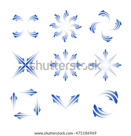 Design vector arrow sign set. Isolated simple shape  blue arrows. Web design elements illustration