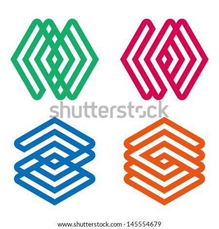 Design vector diamond logo template. Icon set. You can use in the buildings, apartments, real estate ,spinning and other three-dimensional concept of pattern. - stock vector