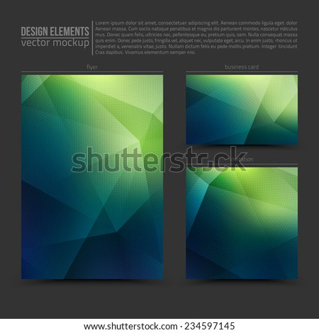 Design vector elements: flayer, business card and invitation. Vector design mockup. Vector print templates. Set of vector banners. Vector design bundle - stock vector