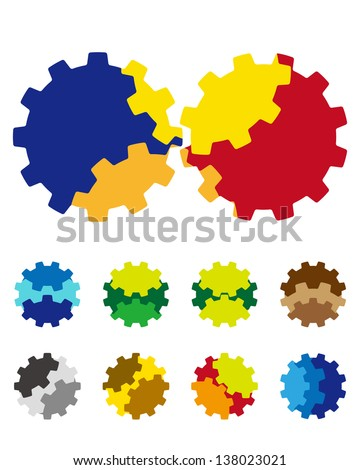 Design vector gears logo element. Colorful abstract gears pattern, icon set. You can use the machinery, factories,games, app, electronic or creative design concepts. - stock vector