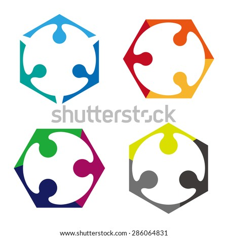 Design vector hexagonal logo element. Abstract people icon. You can use in the media, mobile, public groups, alliances, environmental, mutual aid associations and other social welfare agencies.  - stock vector
