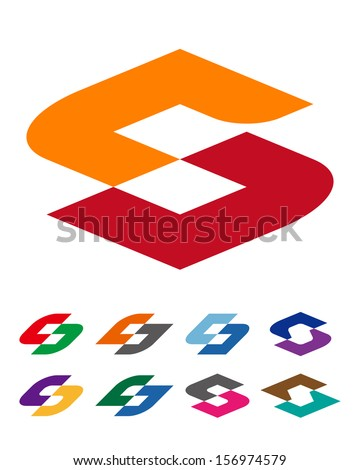 "Design vector logo template. ""c"", ""d"", ""s"" letters icon set. You can use in the commerce, financial, traffic, construction and communication concept of pattern.  - stock vector"